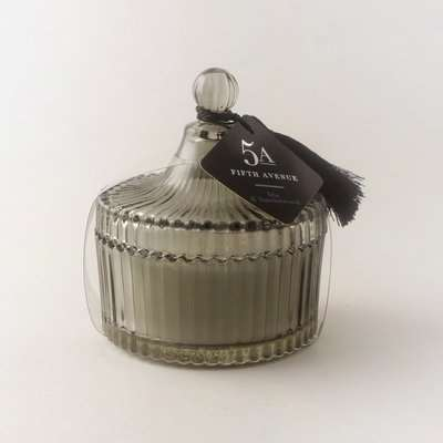 5A Ribbed Lidded Iris and Sandalwood Scented Candle Grey