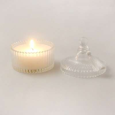 5A Ribbed Lidded Peony Petal and Silk Scented Candle Clear
