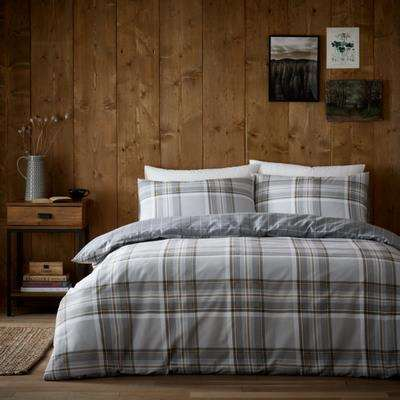 Albany Grey 100% Brushed Cotton Reversible Duvet Cover and Pillowcase Set Grey