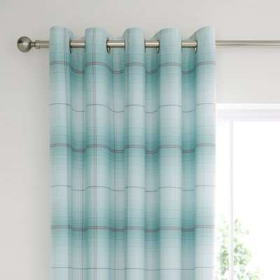 Albie Blue Eyelet Blackout Curtains Blue, White and Grey