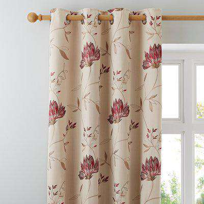 Amelia Red Eyelet Curtains Red and Brown