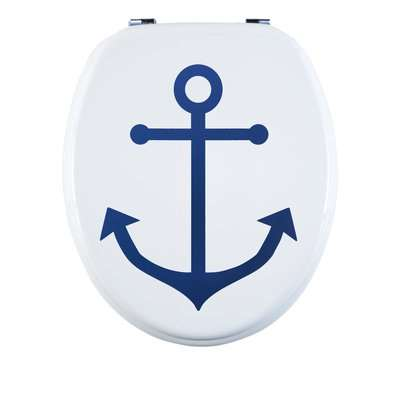 Anchor MDF Toilet Seat Blue and White