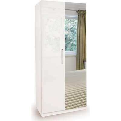 Angel High Gloss 2 Door Mirror Wardrobe White