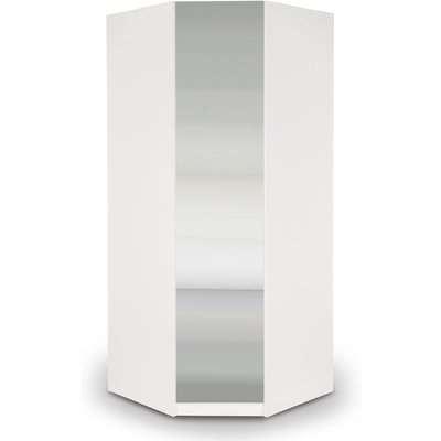 Angel Mirrored Corner Wardrobe White