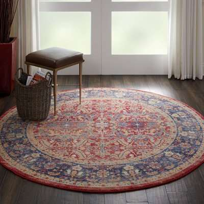 Ankara Global 2 Round Rug Red, Blue and Brown