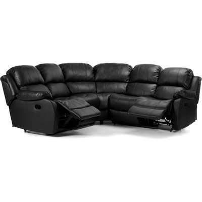 Anton Bonded Leather Reclining Corner Sofa Black