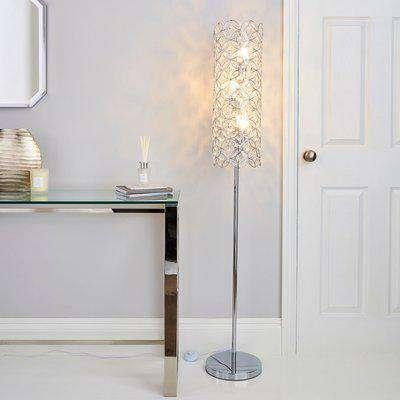 Arden Jewel Chrome Floor Lamp Chrome, Clear