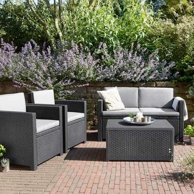 Armona 4 Seater Grey Sofa Set Grey