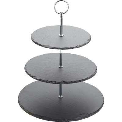 Artesa Three Tier Slate Cake Stand Black