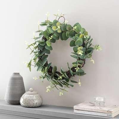 Artificial Eucalyptus Wreath Green 40cm Green