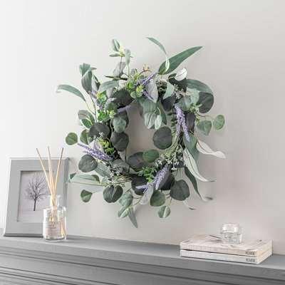 Artificial Lavender Wreath 40cm Green