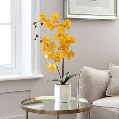 Artificial Orchid Ochre in Grey Pot 56cm Ochre