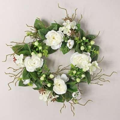 Artificial White Rose Wreath White/Green