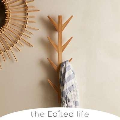 The Edited Life Ash Wood Wall Mounted Coat Hooks Natural (Brown)