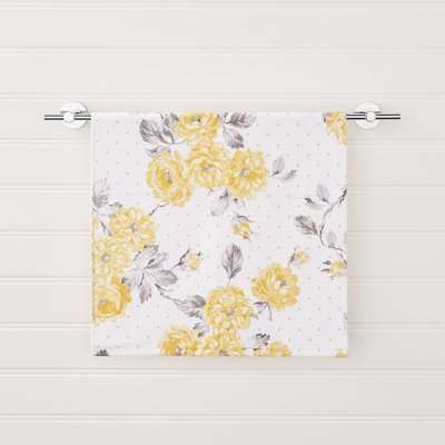 Ashbourne Floral Ochre Hand Towel White, Grey and Yellow