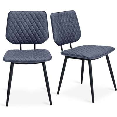 Austin Set Of 2 Dining Chairs Grey PU Leather Grey