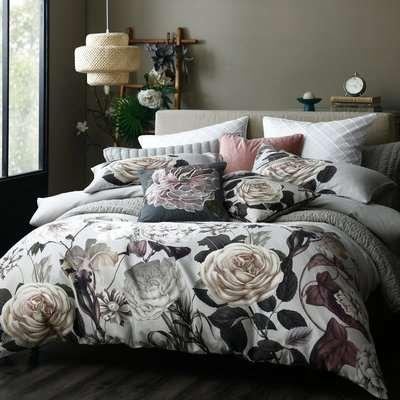 Avery Green Amalia Floral 100% Cotton Sateen Duvet Cover and Pillowcase Set MultiColoured