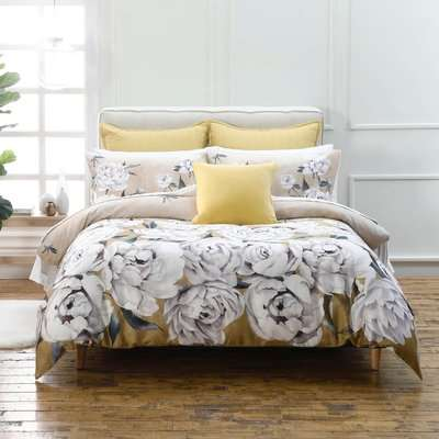 Avery Green Ava Floral Gold 100% Cotton Sateen Duvet Cover and Pillowcase Set Gold