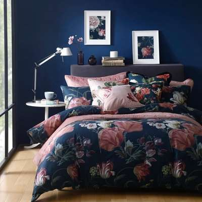 Avery Green Larabella Floral Navy and Pink 100% Cotton Sateen Duvet Cover and Pillowcase Set Navy (Blue)