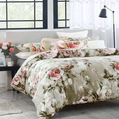 Avery Green Odette Floral Natural 100% Cotton Sateen Duvet Cover and Pillowcase Set Natural (Brown)