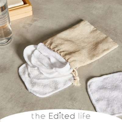 Bamboo Blend Pack of 7 Face Cloths with a White Cotton Bag Brown/White