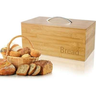Bamboo Wooden Bread Bin Natural Brown