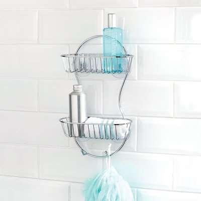 Bathroom Basics 2 Tier Shower Caddy Silver
