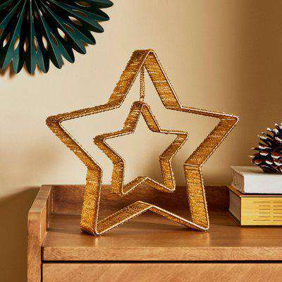 Gold Beaded Star Table Decoration Gold