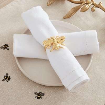Bee Napkin Ring Set of 2 Gold