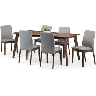 Berkely Dining Table with 6 Chairs Brown/Grey