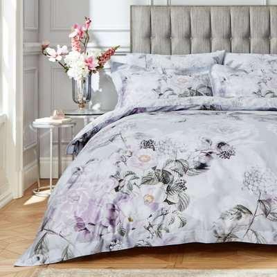 Bianca Amethyst 100% Cotton Sateen Duvet Cover and Pillowcase Set Heather (Purple)