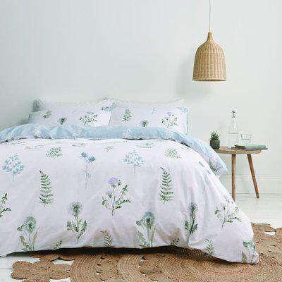 Bianca Meadow Flowers White 100% Egyptian Cotton Duvet Cover and Pillowcase Set White