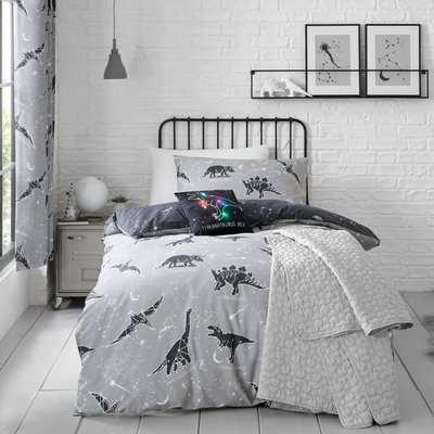 Black Space Dinosaur Single Duvet Cover and Pillowcase Set Black and White