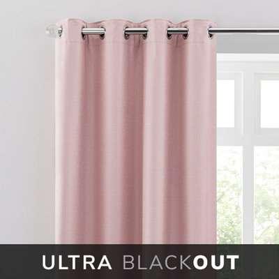 Montreal Thermal Blackout Ultra Blush Eyelet Curtains Blush Pink