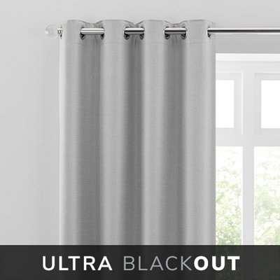 Montreal Thermal Blackout Ultra Grey Eyelet Curtains Grey