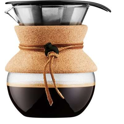 Bodum Pour Over Coffee Maker with Removable Cork Sleeve Clear, Brown and Black