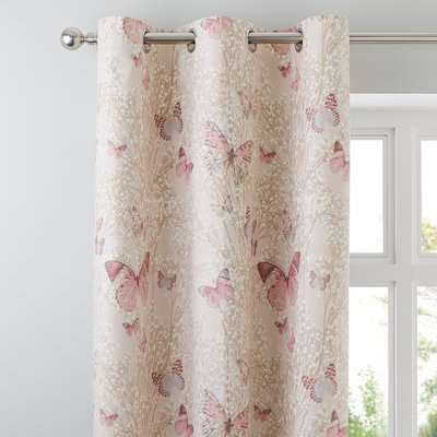 Botanica Butterfly Blush Thermal Eyelet Curtains Pink and White