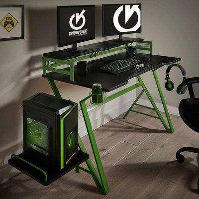 Carbon Fibre Effect Green Gaming Desk Green
