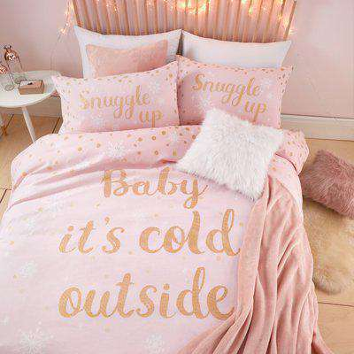Catherine Lansfield Baby It's Cold Outside Pink Duvet Cover and Pillowcase Set Pink