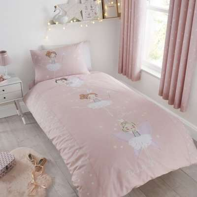 Catherine Lansfield Make A Wish Glow in The Dark Single Duvet Cover and Pillowcase Set Pink and White