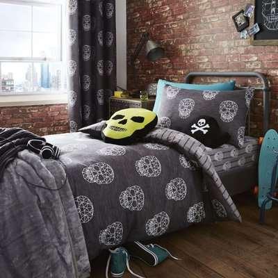 Catherine Lansfield Skulls Grey Single Duvet Cover and Pillowcase Set Grey