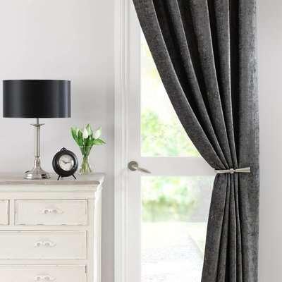 Chenille Grey Thermal Pencil Pleat Door Curtain Grey