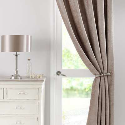 Chenille Taupe Thermal Pencil Pleat Door Curtain Brown