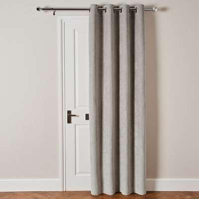 Cloudmont Chenille Dove Grey Thermal Eyelet Door Curtain Grey