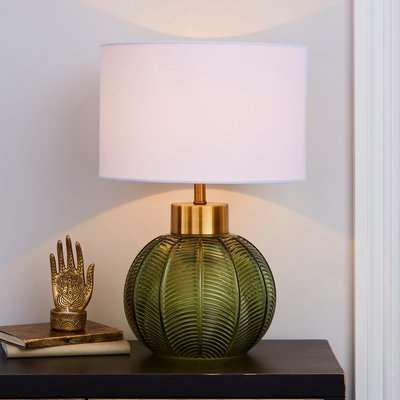 Colleen Glass Table Lamp Green and Brown