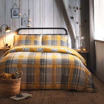 Colville Yellow Checked 100% Brushed Cotton Duvet Cover and Pillowcase Set Yellow, Grey and White