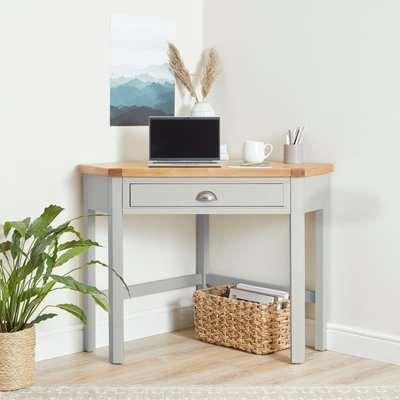 Compton Ivory Corner Desk Cream/Brown