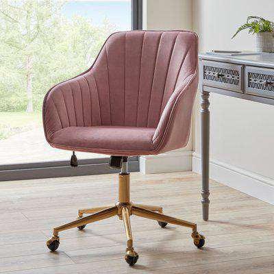 Connie Pleated Velvet Office Chair Pink