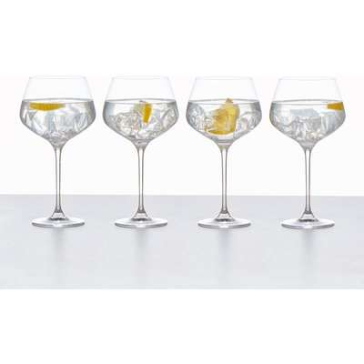 Set of 4 Connoisseur Crystal Glass Gin Glasses Clear