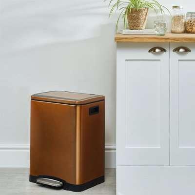 Copper 30L Low Recycling Bin Brown